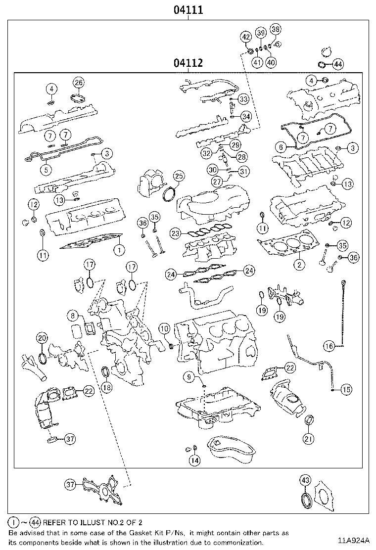 Lexus Rx 350 Engine Gasket Set  Gasket Kit  Engine Overhaul