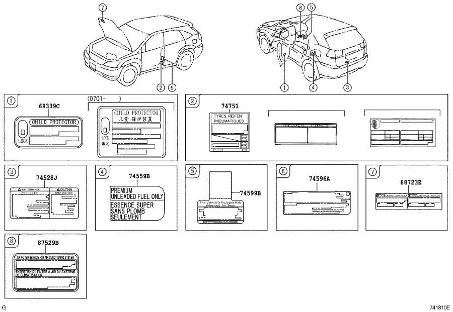 Lexus Rx 330 Label  Tire Pressure Information  Interior