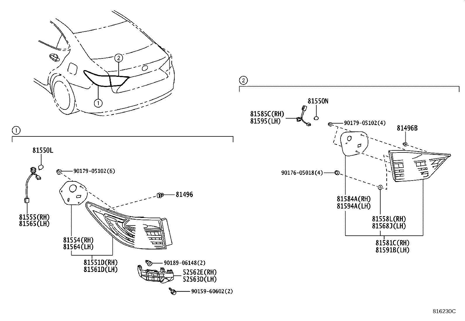 Lexus Es 300h Socket  U0026 Wire  Rear Lamp  Left  Rear Lamp