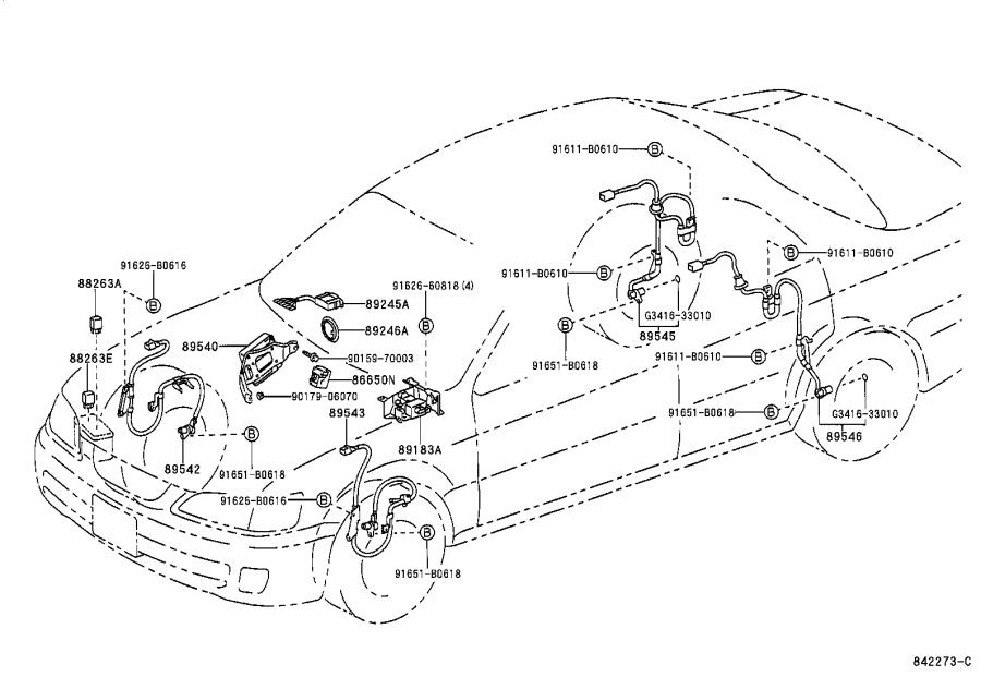 Lexus Es 300 Abs Wheel Speed Sensor  Left  Front   Electrical  Vsc